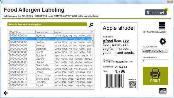 Etikettedruck -allergene Lebensmittel